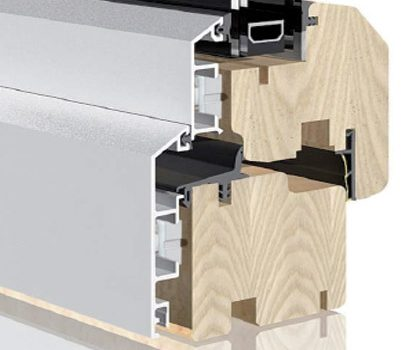 detalle perfil cierre de pvc con marco madera